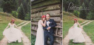 sesja ślubna drewniana chata