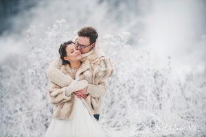 zimowa stylizacja ślubna